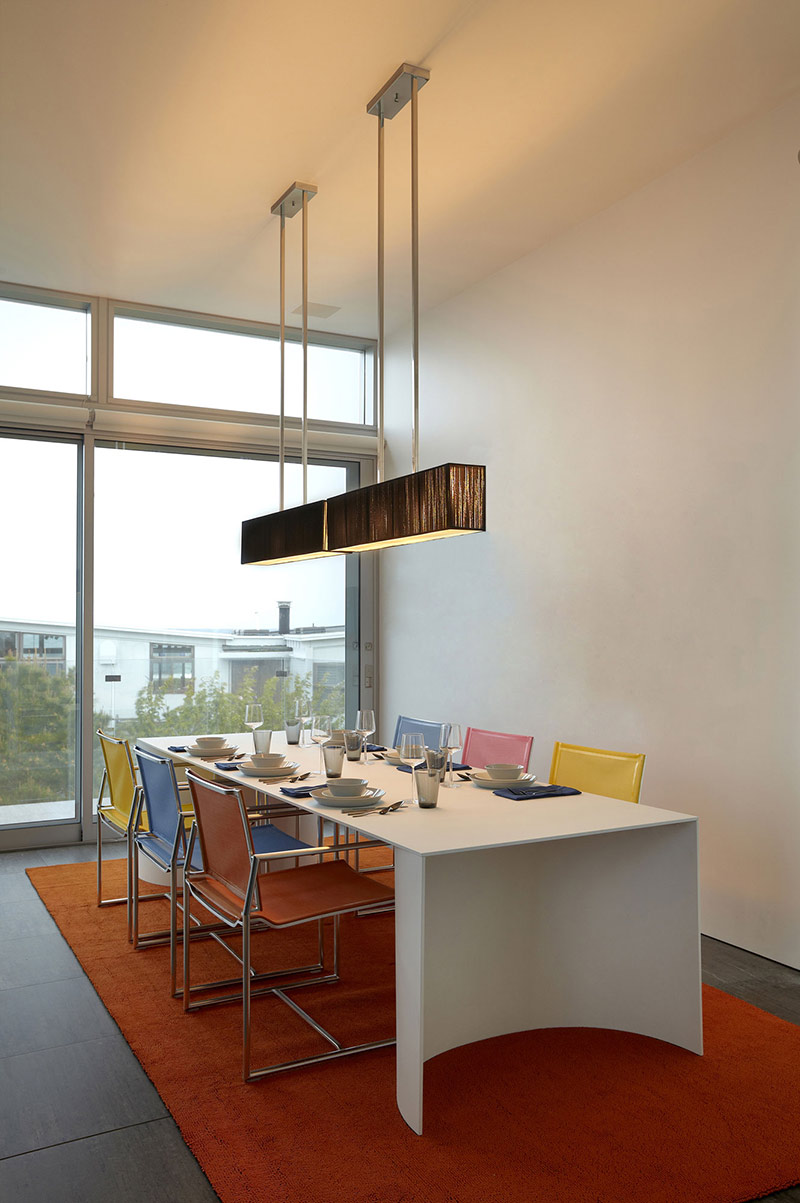 Dining Table, Multi Colored Seats, Beach Walk House, Fire Island, New York
