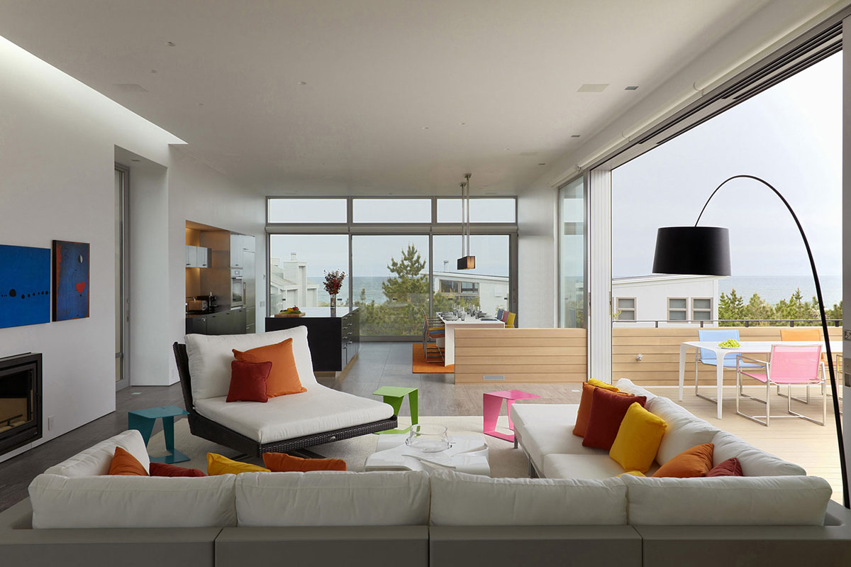 Living Room Modern Living Space modern sofas living space glass walls beach walk house fire island new york