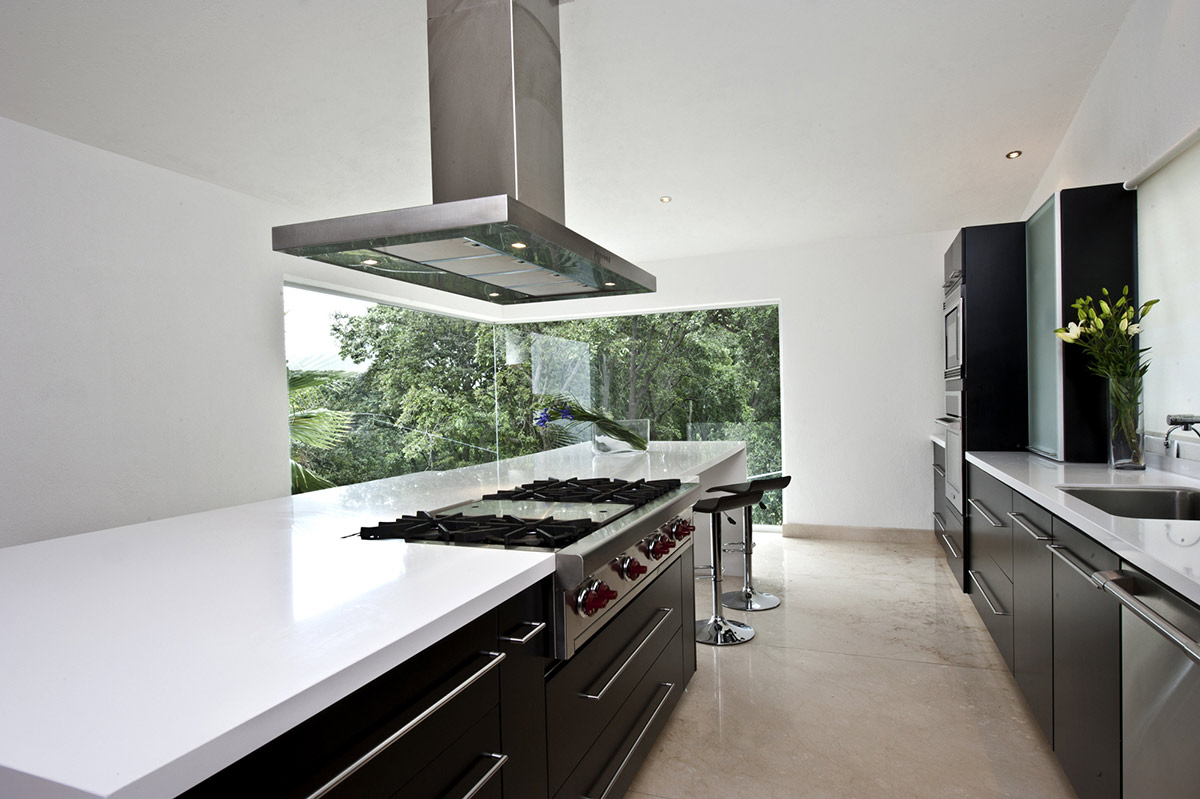 Black & White Kitchen Island, Sophisticated Three Story Home in Mexico
