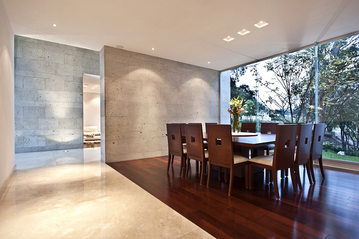 Dark Wood Dining Room, Sophisticated Three Story Home in Mexico