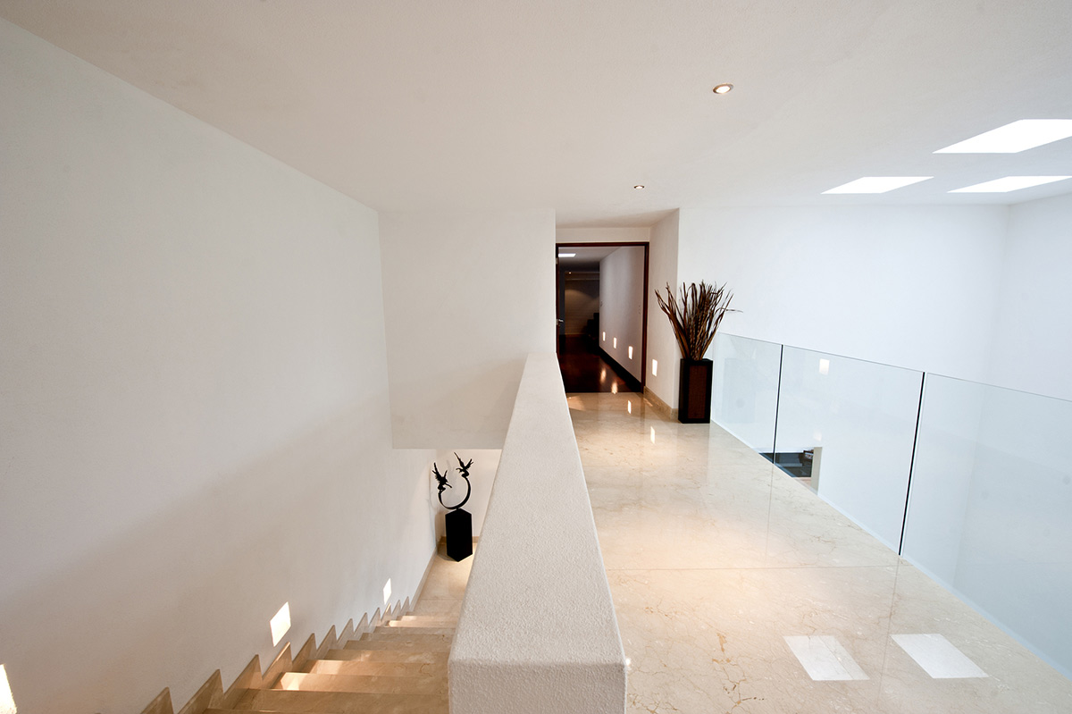 Landing, Stairs, Sophisticated Three Story Home in Mexico
