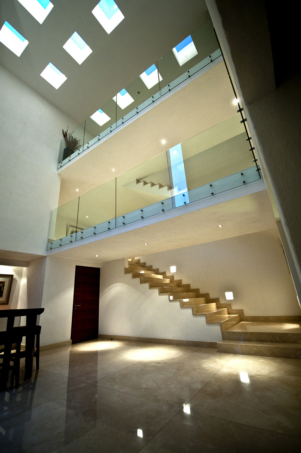 Marble Flooring, Hall, Sophisticated Three Story Home in Mexico