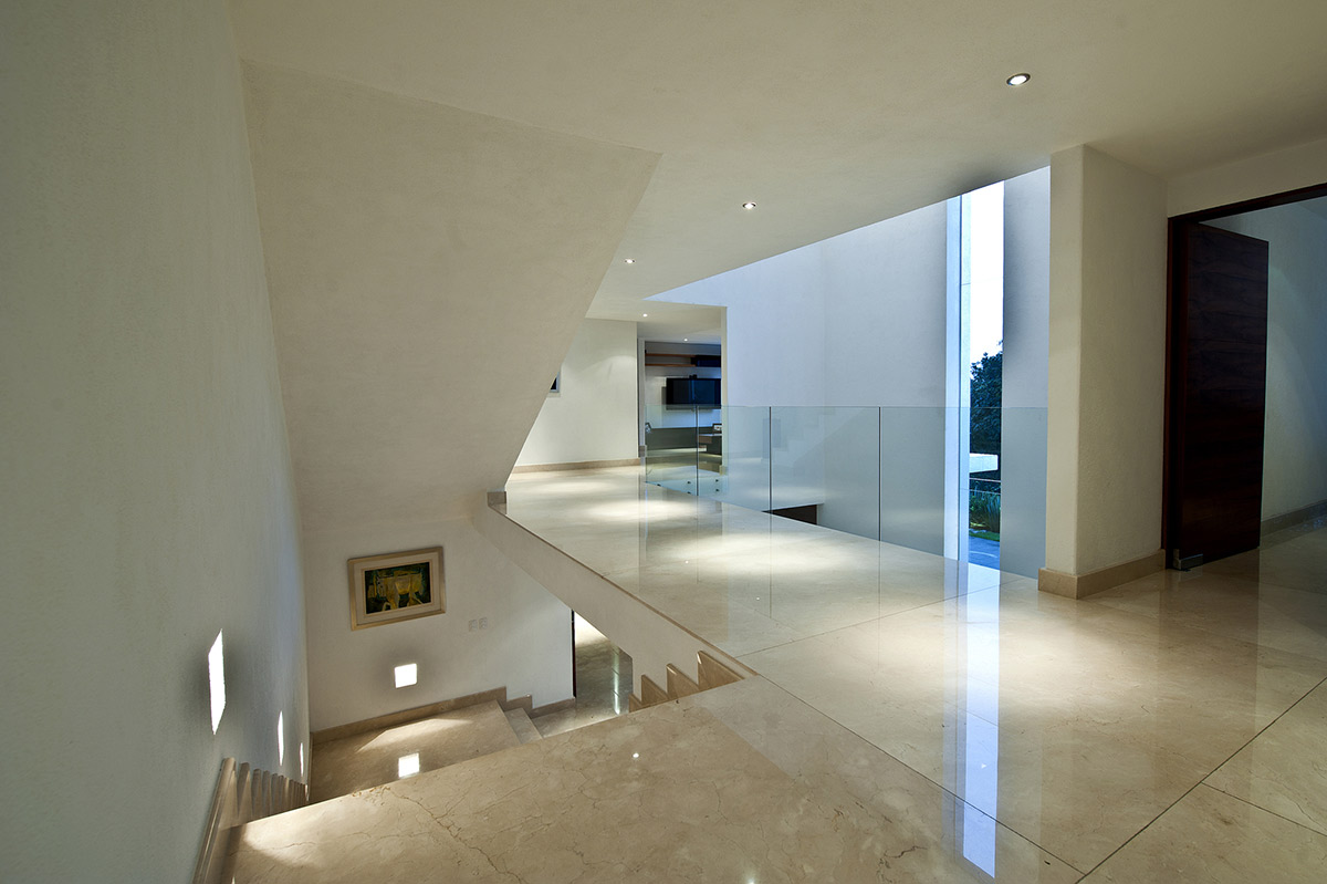 Marble Stairs, Glass Landing, Sophisticated Three Story Home in Mexico