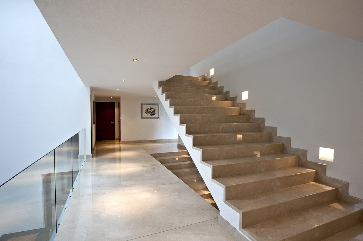 Marble Stairs Sophisticated Three Story Home In Mexico: inside staircase in houses