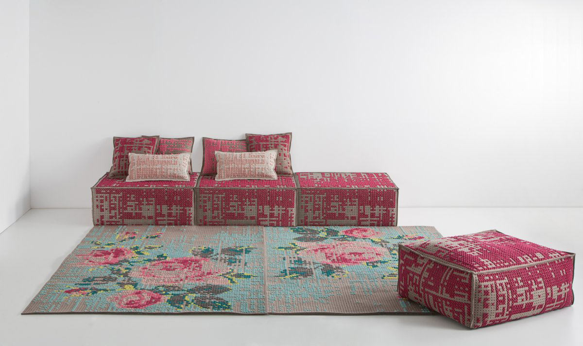 Flowery Rug, Pouffes, Cushions, Canevas Collection by Charlotte Lancelot
