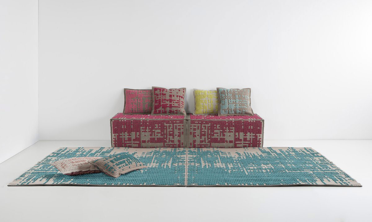 Pouffes, Rug, Cushions, Canevas Collection by Charlotte Lancelot