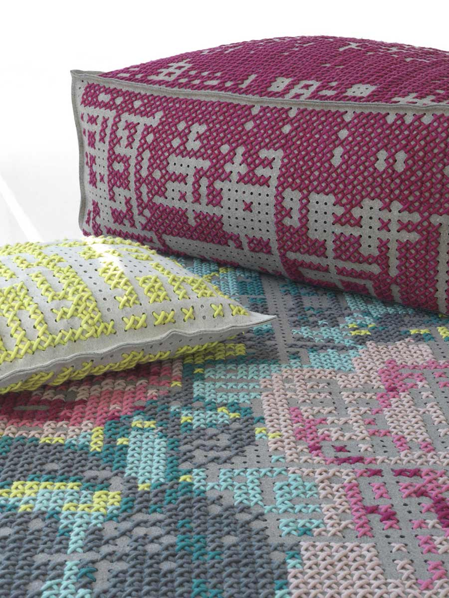 Rug, Cushion, Pouff Detail, Canevas Collection by Charlotte Lancelot