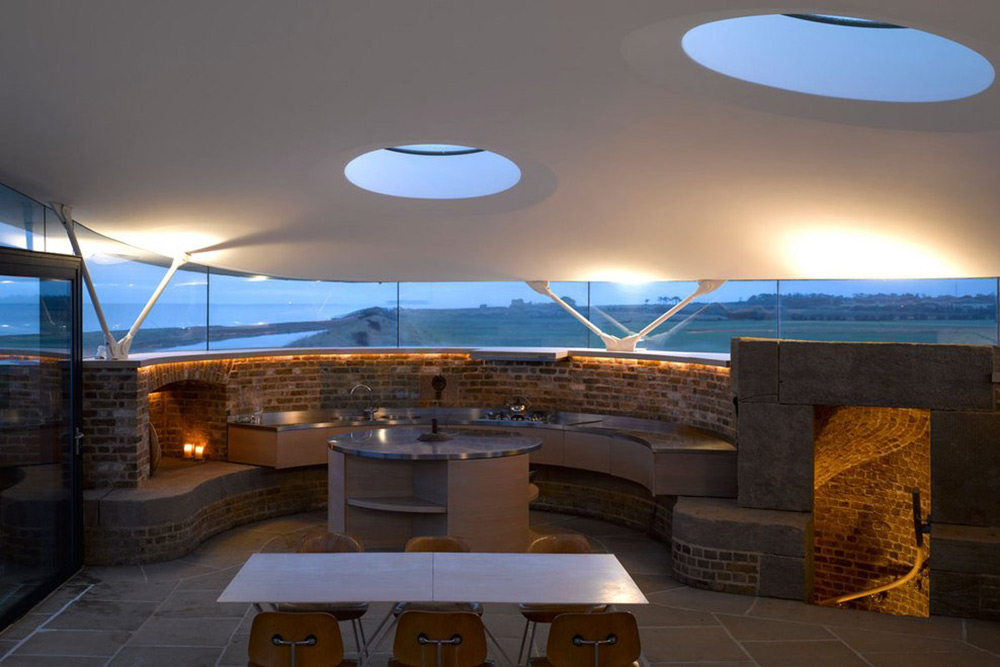 Kitchen, Dining Table, Defence Tower Conversion in Suffolk, England