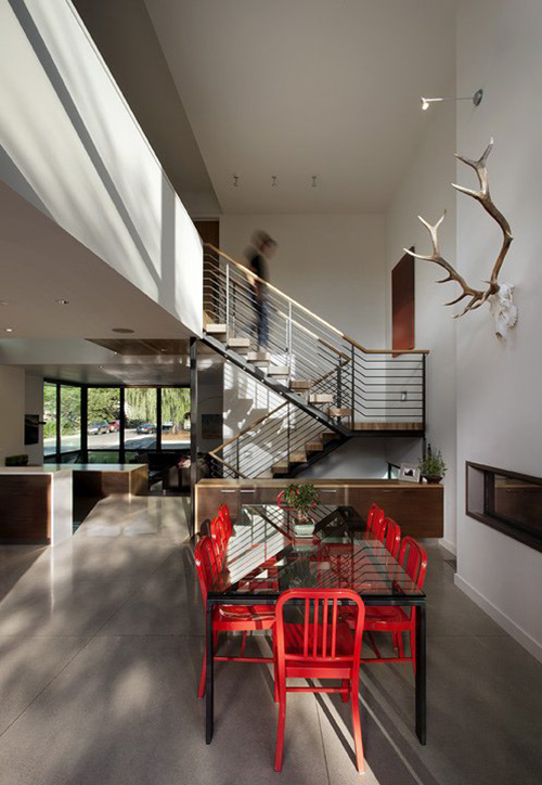 Dining Table, Red Chairs, Stairs, Dihedral House, Boulder, Colorado