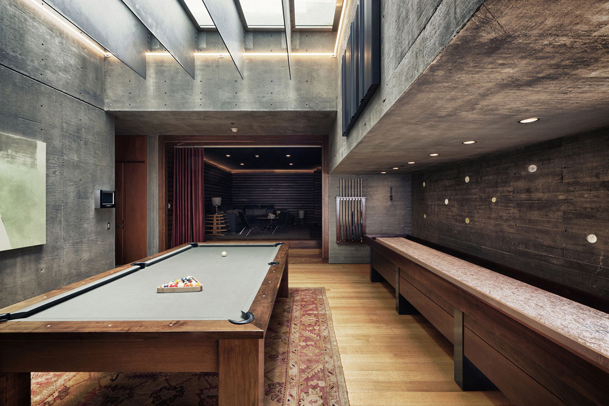High Quality Pool Table, Swimming Pool Window Above, Extraordinary Contemporary Home In  California With Ocean Views