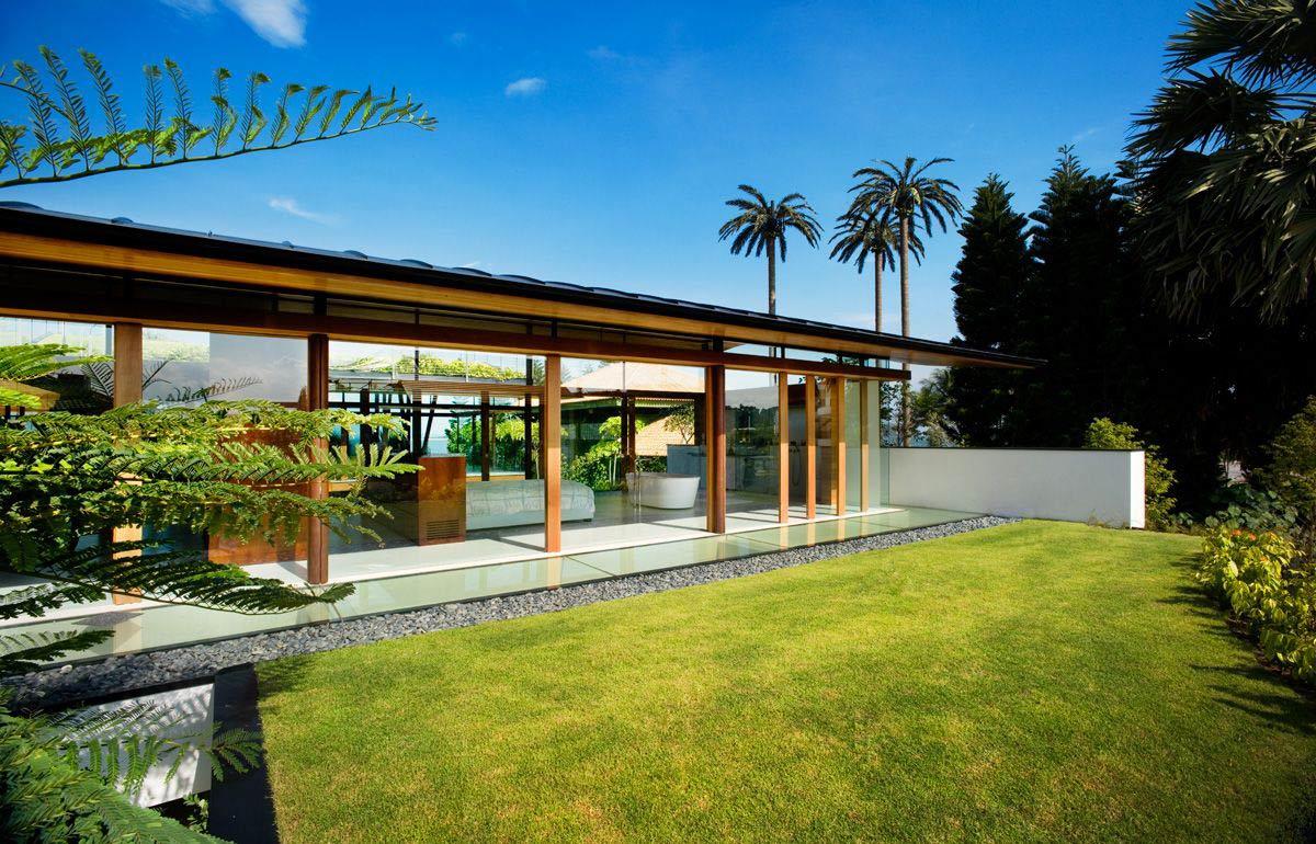 Glass Walls, Bedroom, Bathroom, Stunning Beachfront Home with Under-Pool Media Room