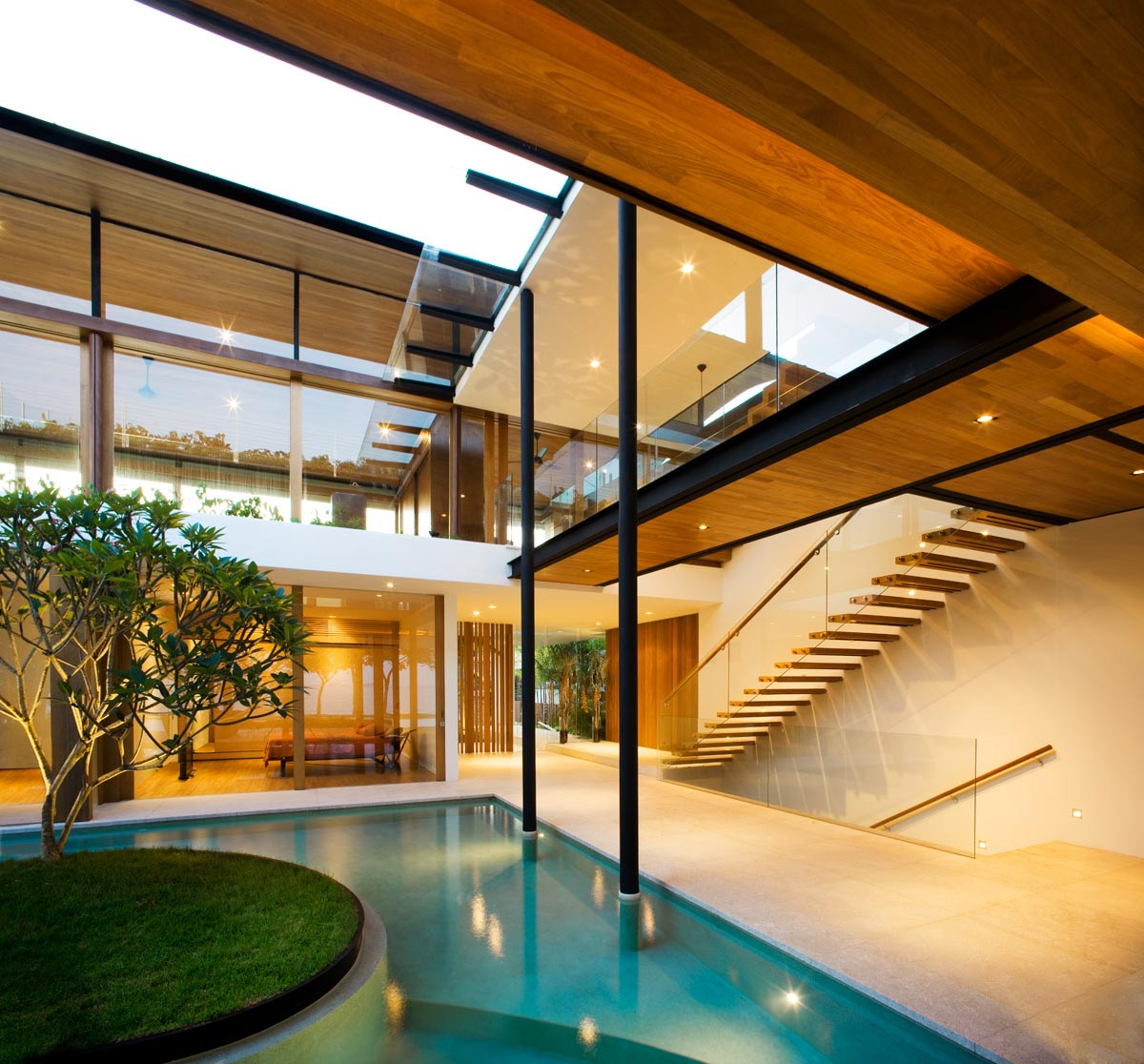 Pool, Glass & Wood Stairs, Stunning Beachfront Home with Under-Pool Media Room