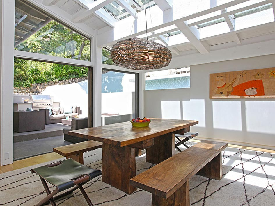 Dining Table, Glass Walls, Hollywood Hills Home Formerly Owned by Hal Levitt
