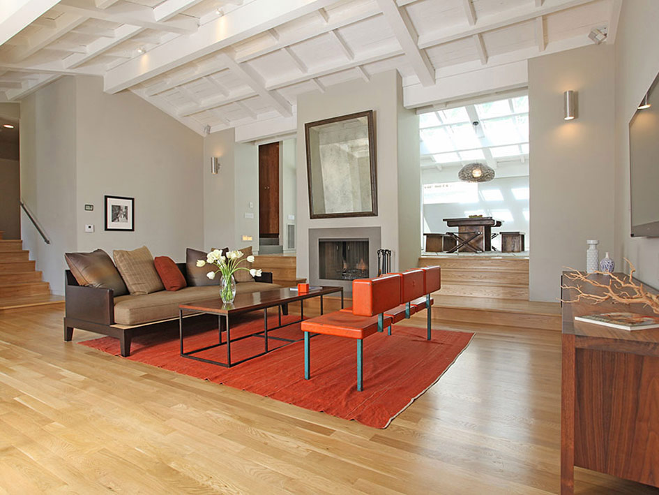 Living Space, Orange Rug, Hollywood Hills Home Formerly Owned by Hal Levitt