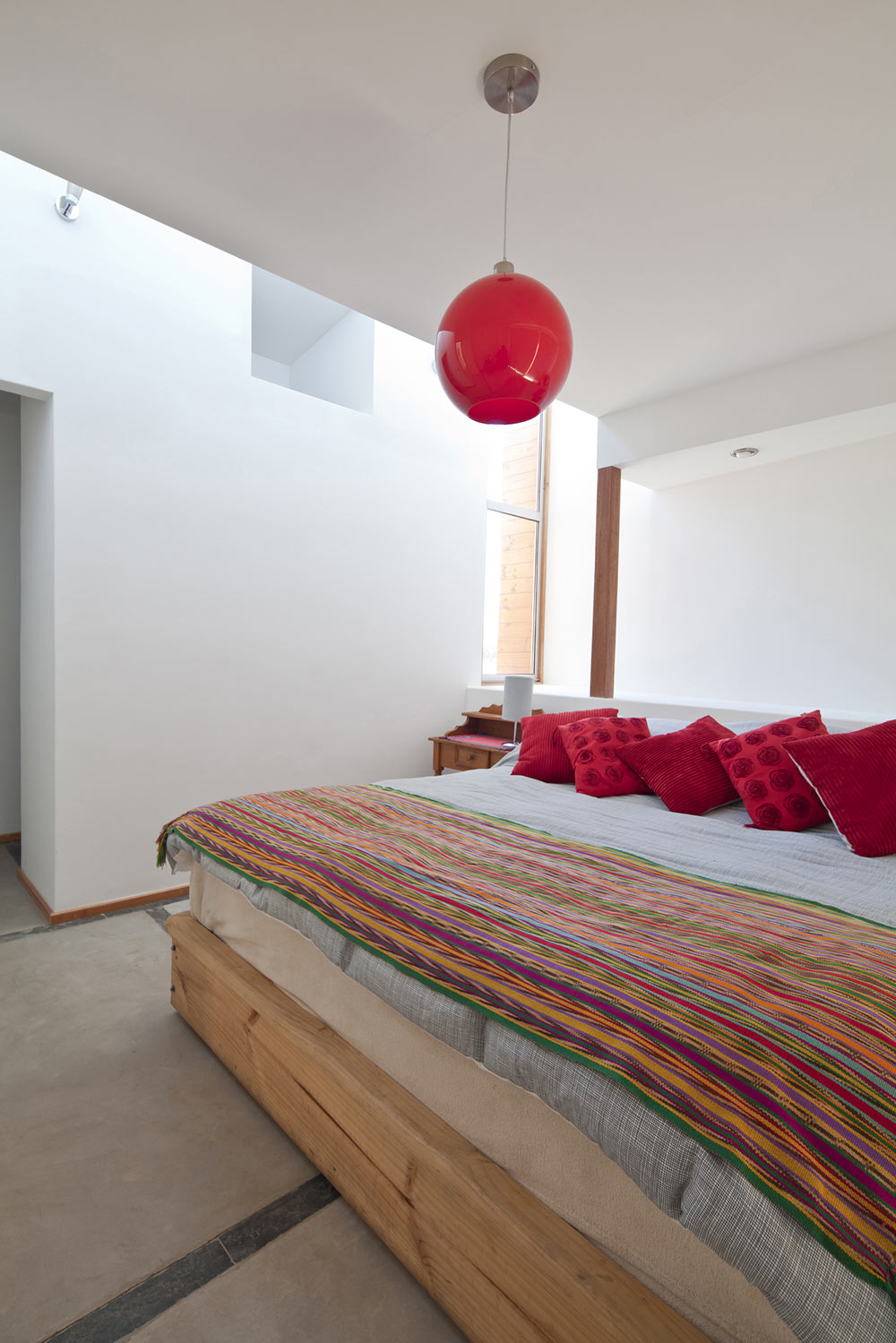Bedroom, Red Light, Home in Chile with Japanese Influences