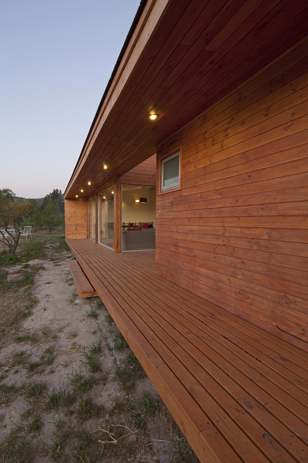 Wooden Deck, Lighting, Home in Chile with Japanese Influences