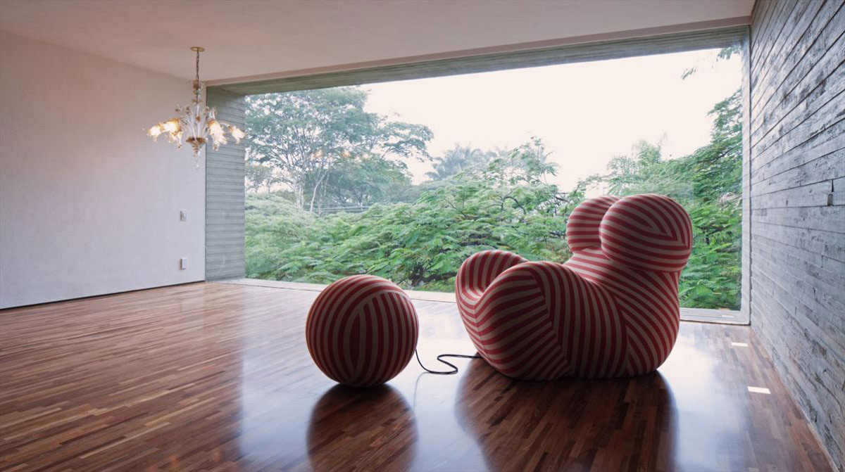 Glass Wall, Red & White Striped Chair, Concrete House in São Paulo, Brazil