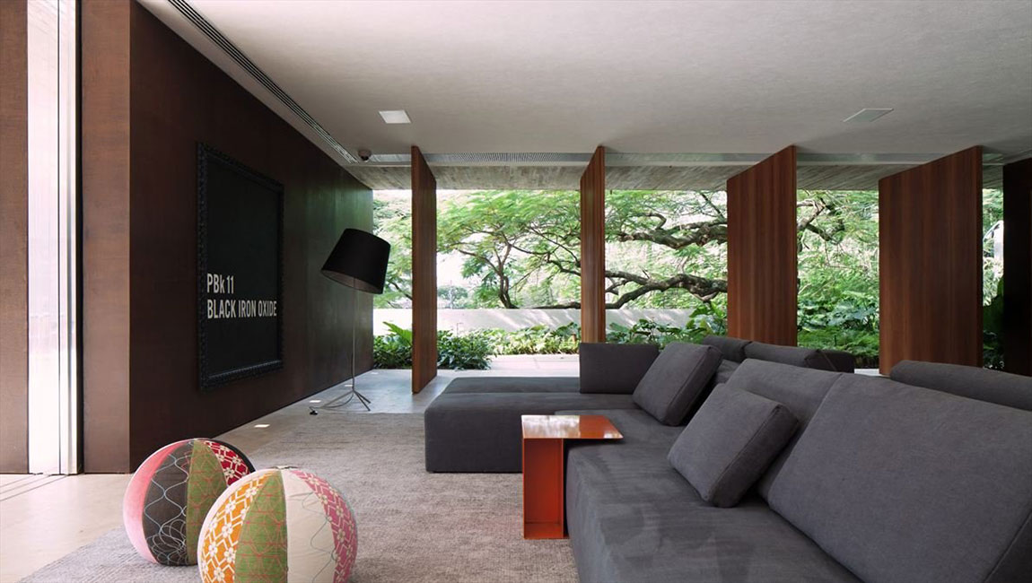 Grey Sofas, Living-Space, Concrete House in São Paulo, Brazil
