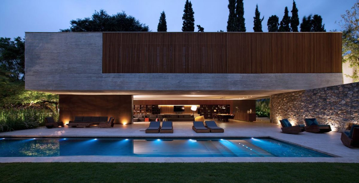 Pool Lights, Terrace, Loungers, Concrete House in São Paulo, Brazil