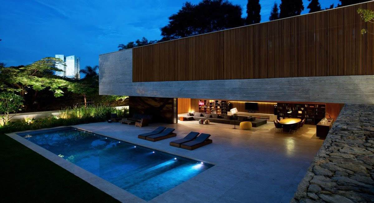 Pool Lights, Terrace, Open Living Space, Concrete House in São Paulo, Brazil