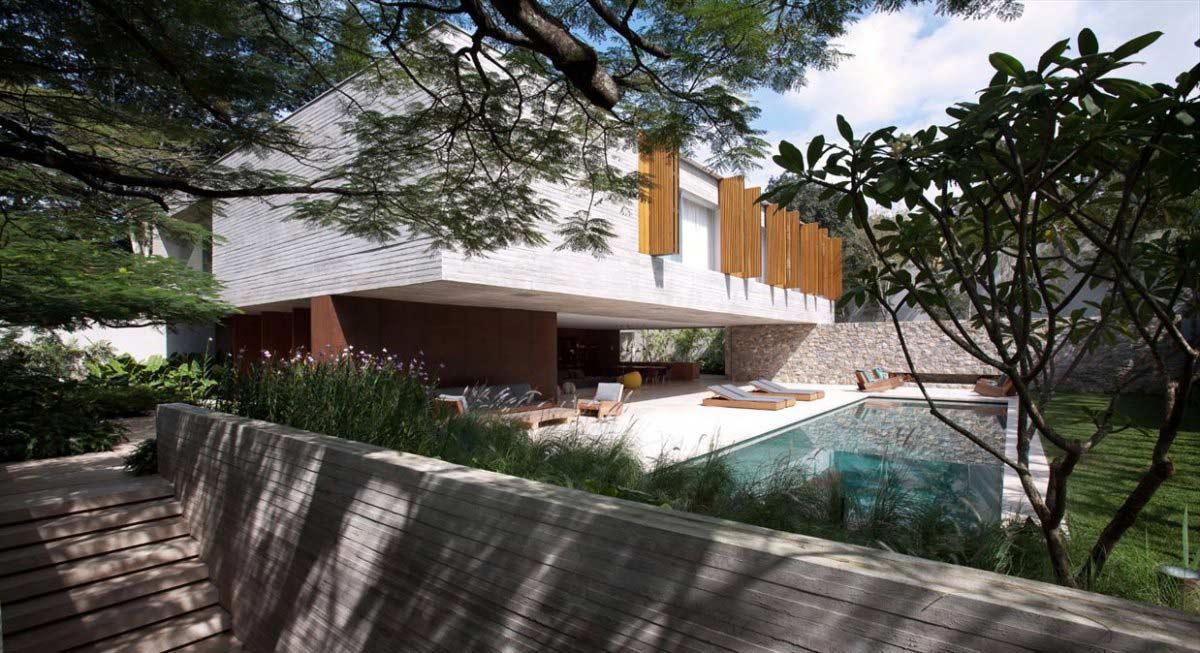 Pool, Terrace, Concrete House in São Paulo, Brazil