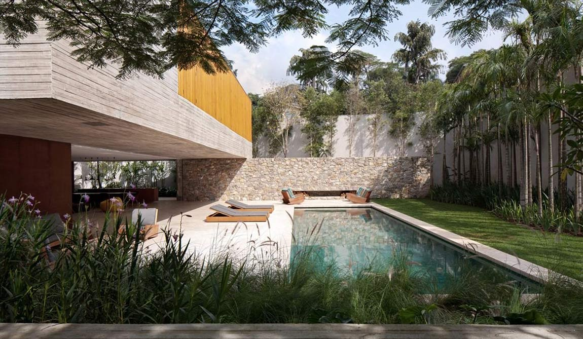 Pool, Concrete House in São Paulo, Brazil