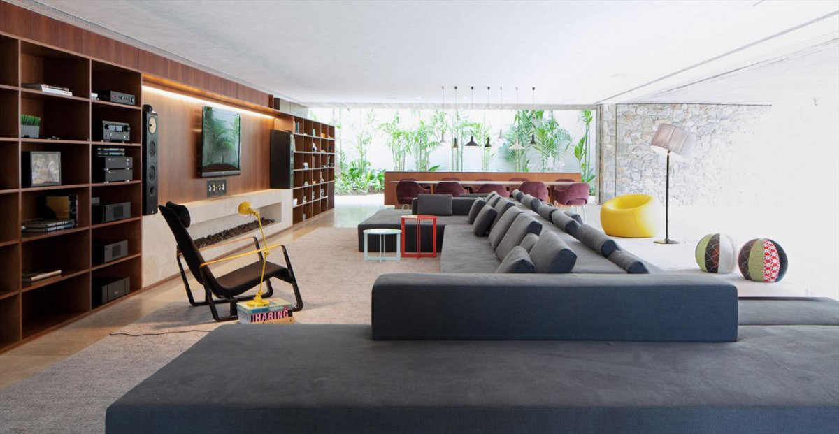 Shelves, Living Space, Concrete House in São Paulo, Brazil