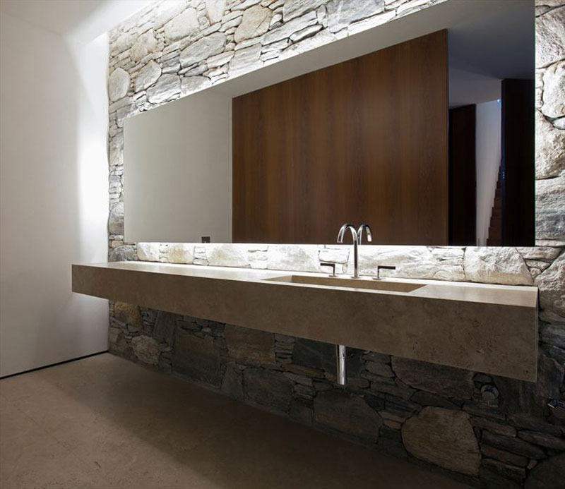 Bathroom, Stone Wall, Large Mirror, Marble-Sink, Concrete House in São Paulo, Brazil