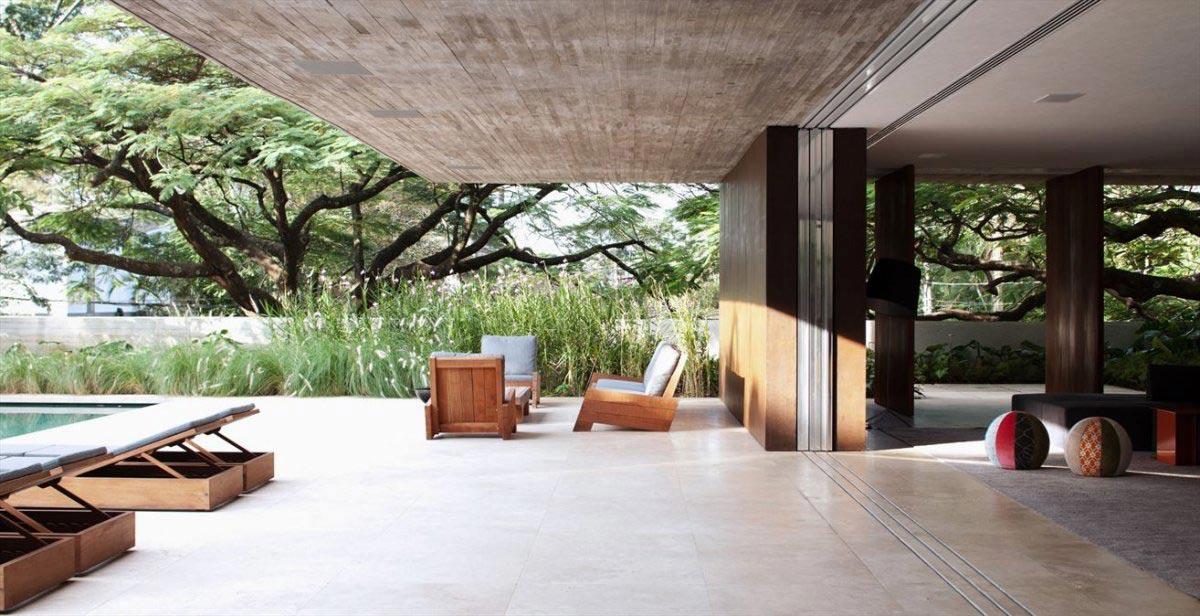 Terrace, Glass Doors, Concrete House in São Paulo, Brazil