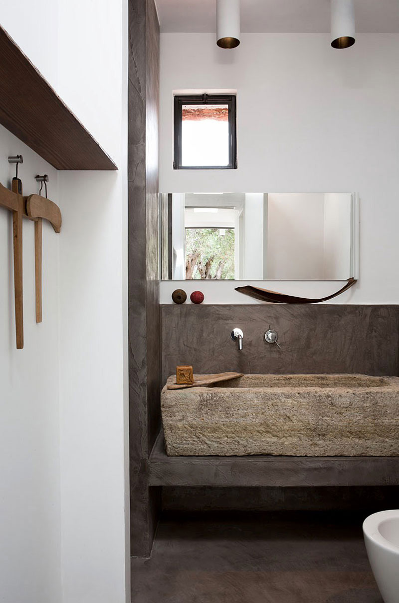 Bathroom, Stone Bath, Italian Stone House Surrounded by Beautiful Olive Trees