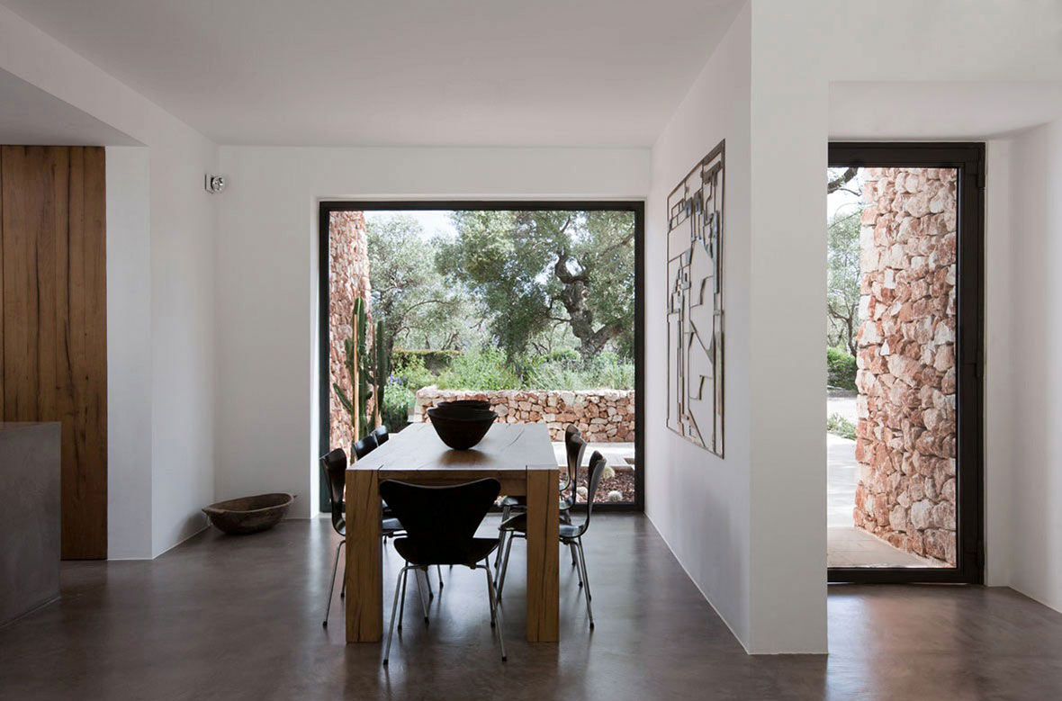 Dining Space, Italian Stone House Surrounded by Beautiful Olive Trees