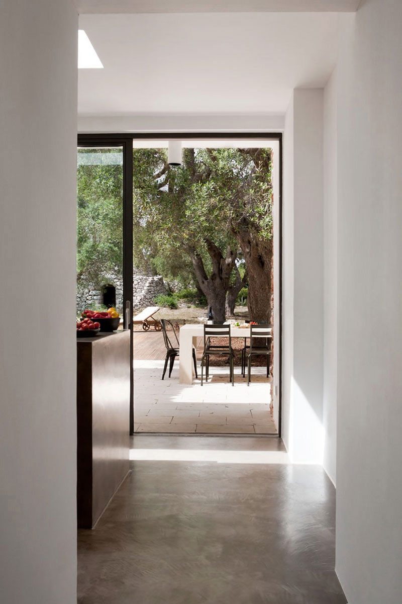 Kitchen, Patio Door, Italian Stone House Surrounded by Beautiful Olive Trees
