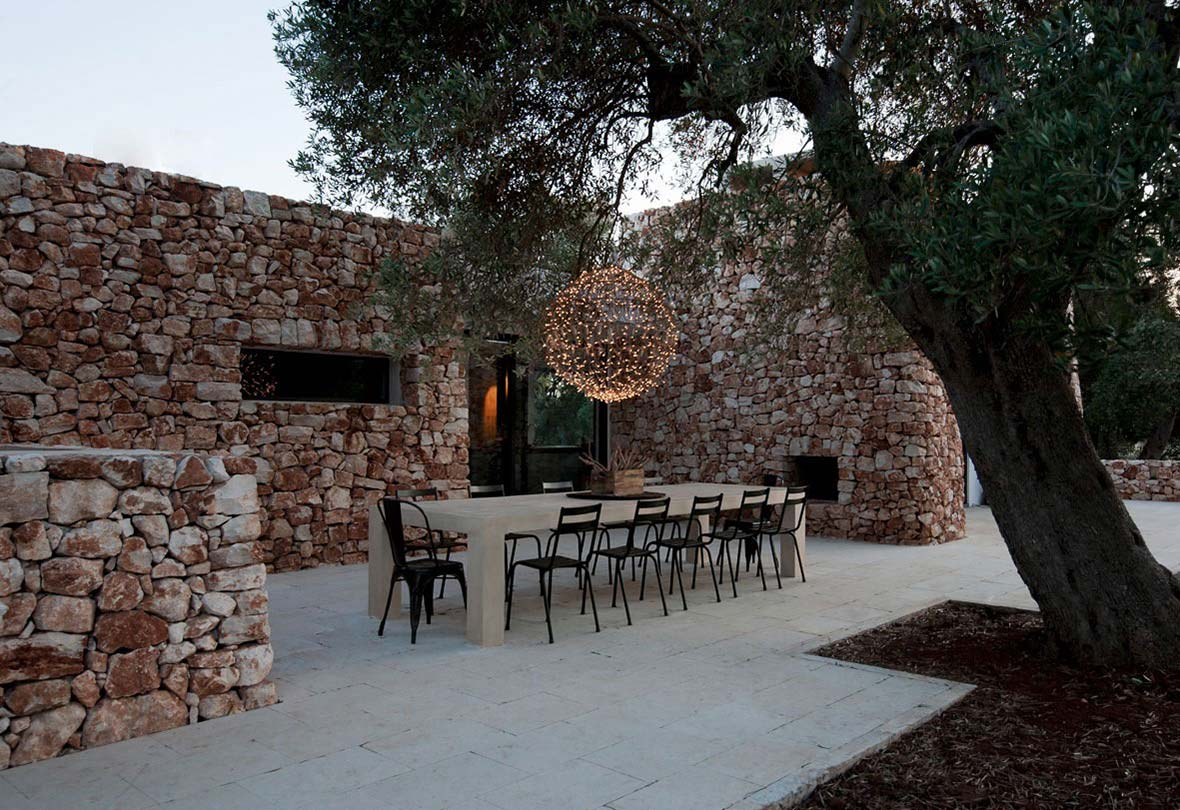 Outdoor Dining, Italian Stone House Surrounded by Beautiful Olive Trees
