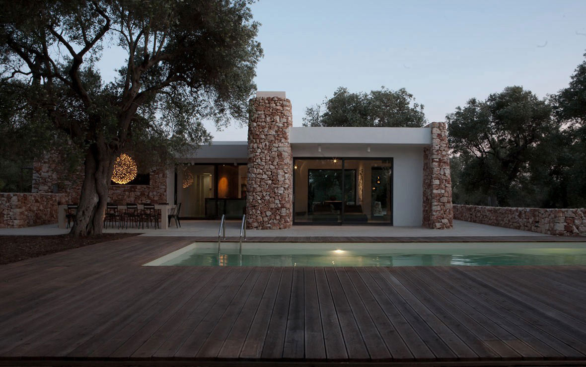 Outdoor Pool, Italian Stone House Surrounded by Beautiful Olive Trees