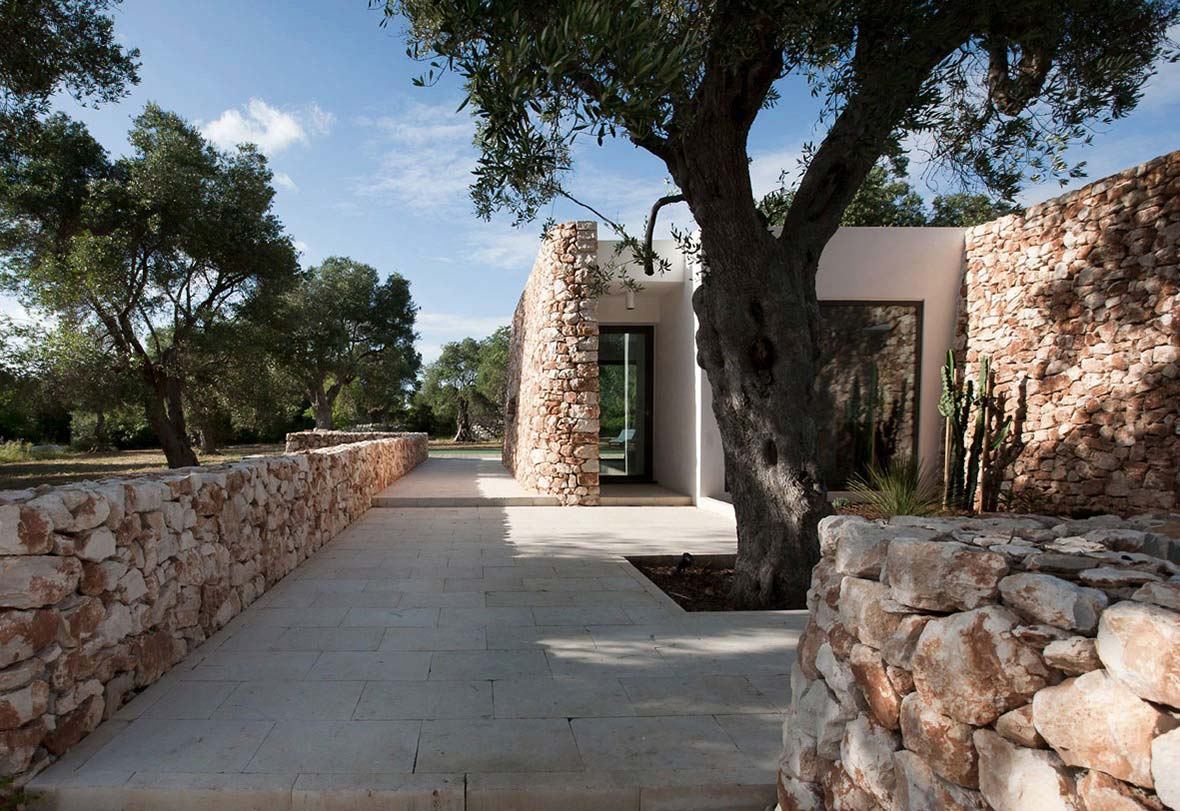 Terrace, Italian Stone House Surrounded by Beautiful Olive Trees