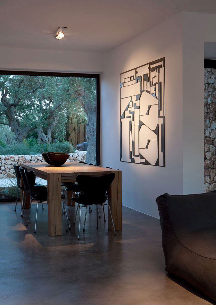 Wooden Dining Table, Italian Stone House Surrounded by Beautiful Olive Trees