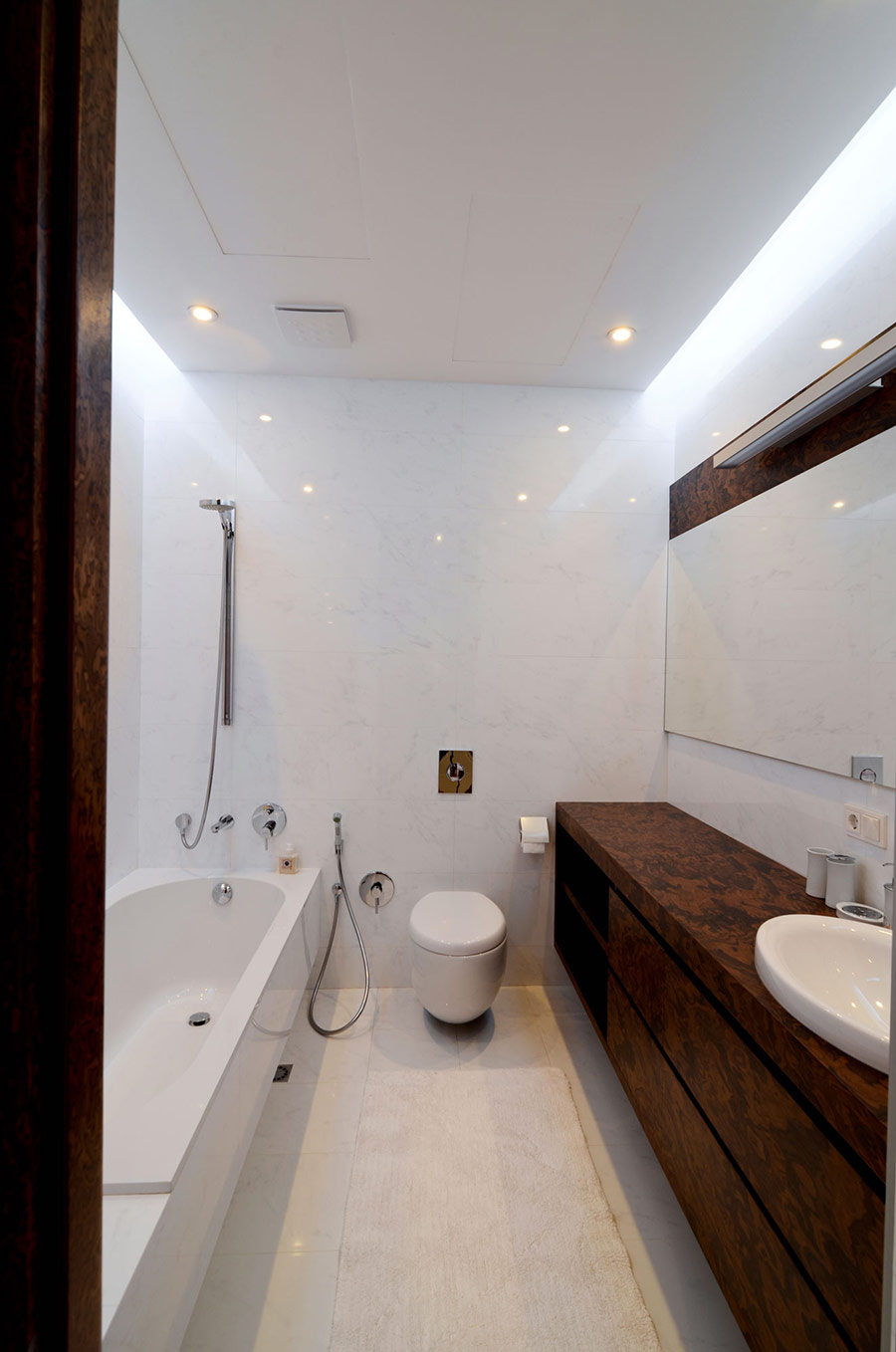 White & Brown Bathroom, Large Family Residence in Kiev, Ukraine