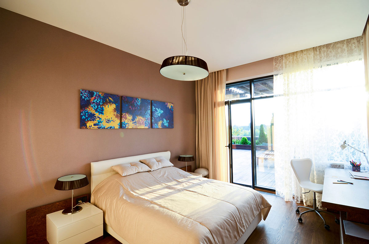 Bedroom, Brown Walls, Large Family Residence in Kiev, Ukraine