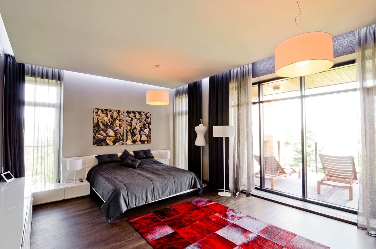 Bedroom, Red Rug, Balcony, Large Family Residence in Kiev, Ukraine