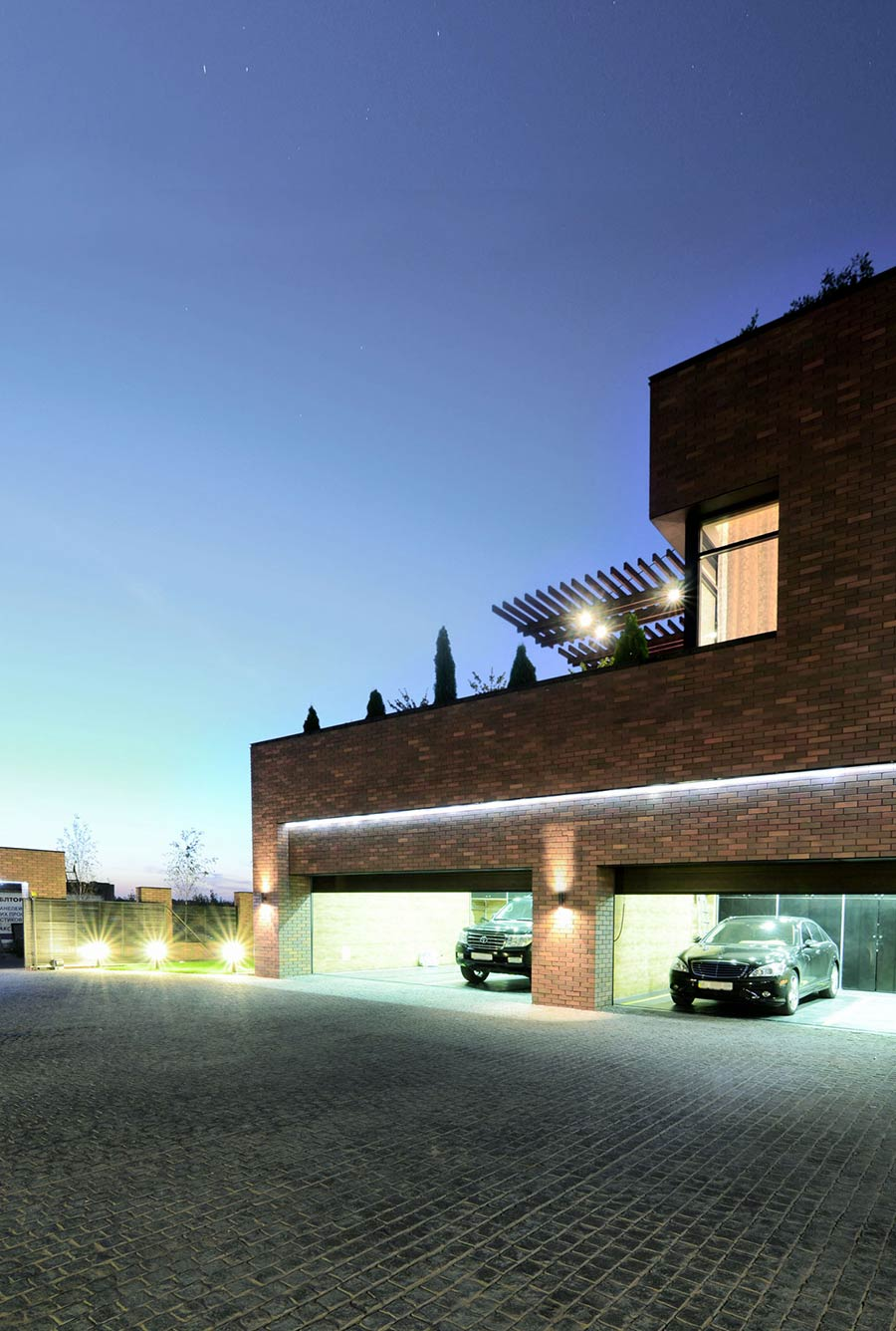 Garage, Lighting, Driveway, Large Family Residence in Kiev, Ukraine