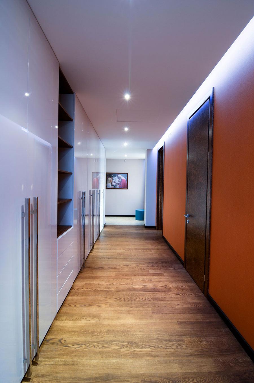Hallway, Orange Walls, Large Family Residence in Kiev, Ukraine