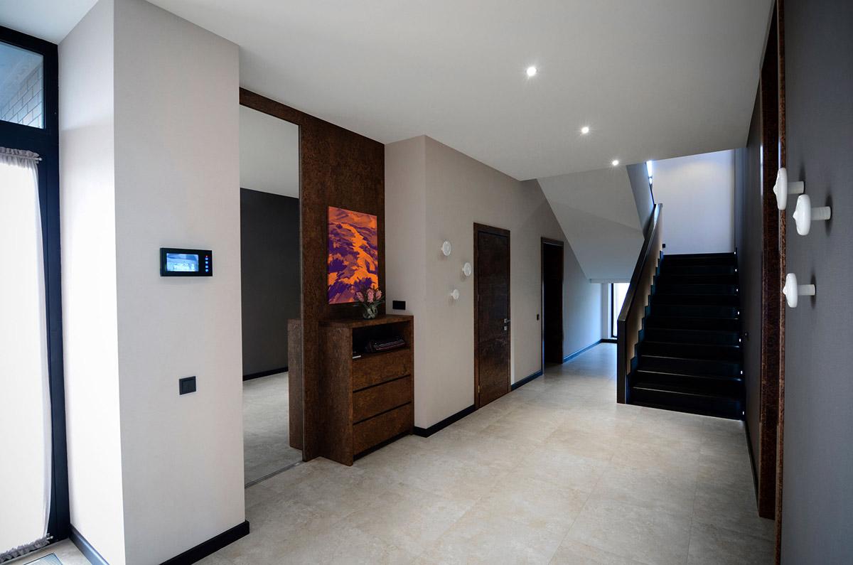 Hallway, Dark Stairs, Large Family Residence in Kiev, Ukraine