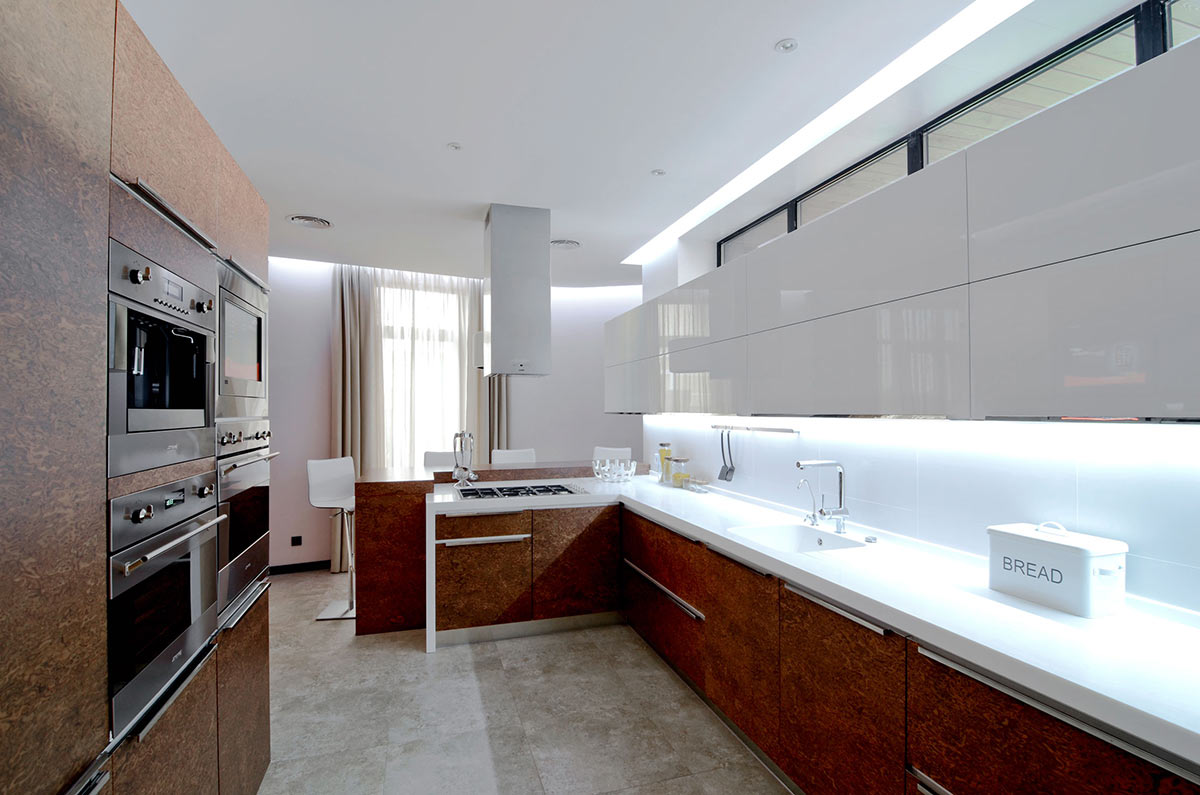 White & Brown Kitchen, Large Family Residence in Kiev, Ukraine