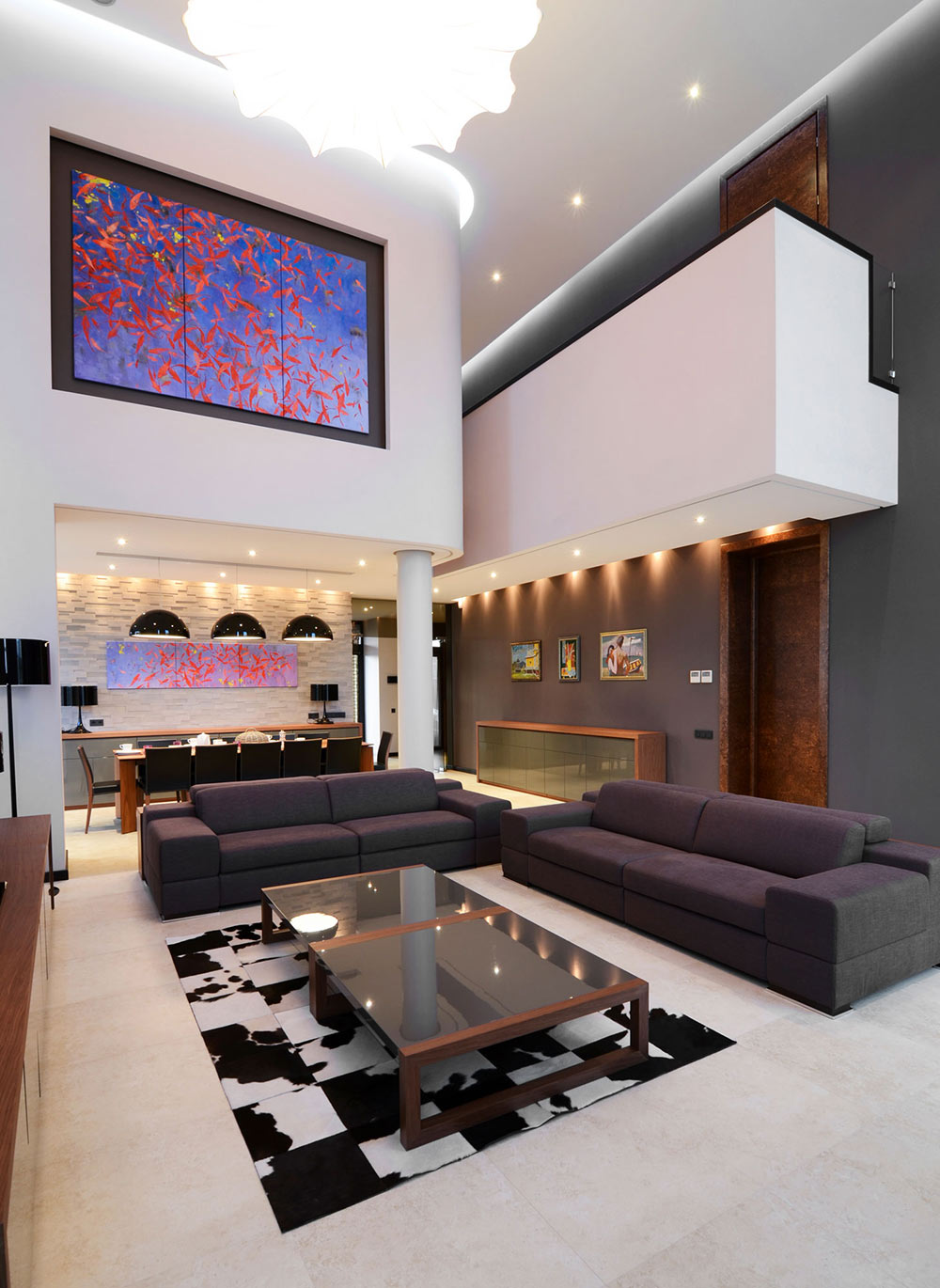 Sofas, Back & White Rug, Art, Large Family Residence in Kiev, Ukraine