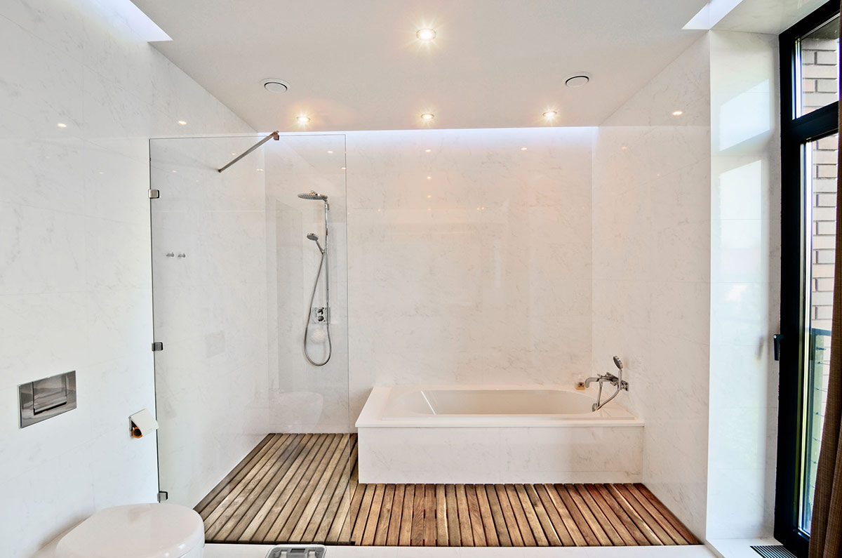 White Bathroom, Glass Shower, Wood Flooring, Large Family Residence in Kiev, Ukraine