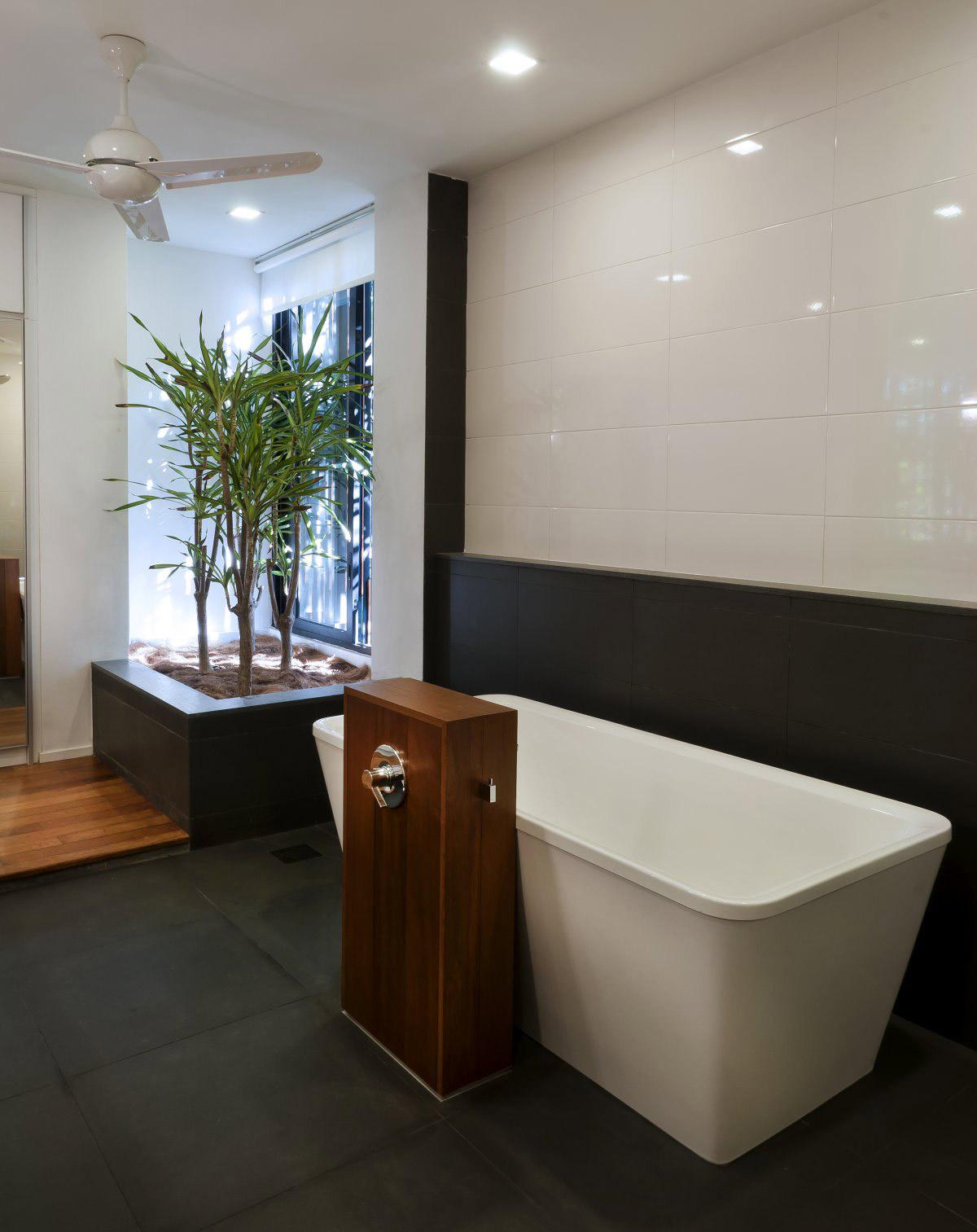 Bathroom, Dark Floor Tiles, Modern Home in Kuala Lumpur