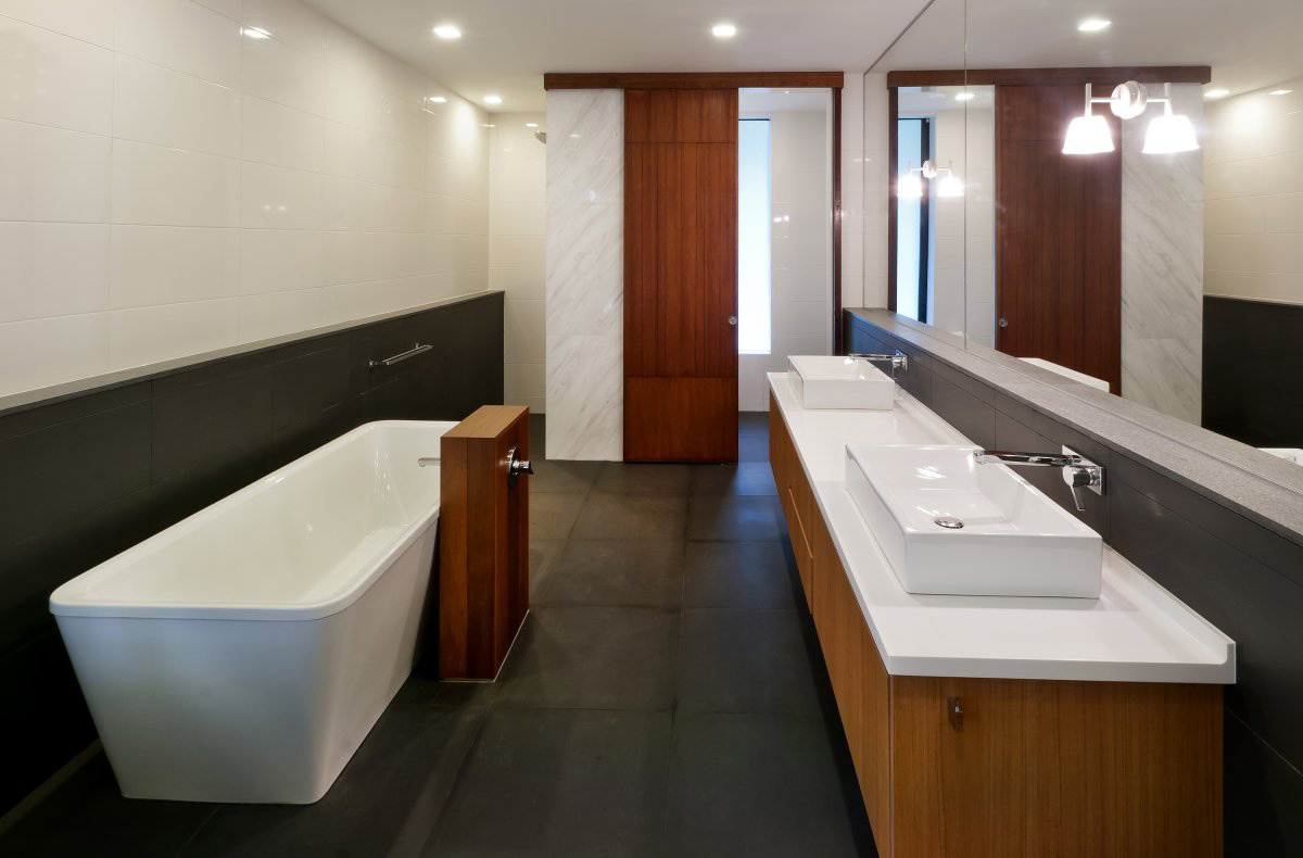 Bathroom, Double Sinks, Large Mirror, Modern Home in Kuala Lumpur