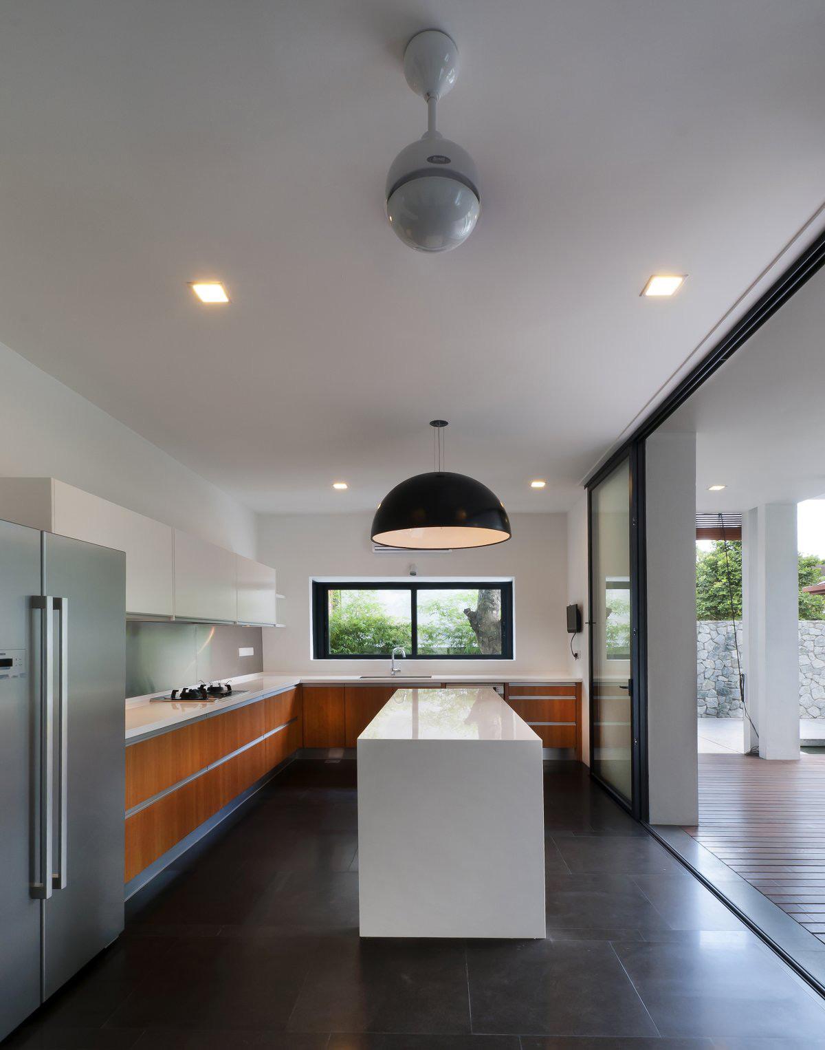 Kitchen, White Island, Dark Tiles, Modern Home in Kuala Lumpur