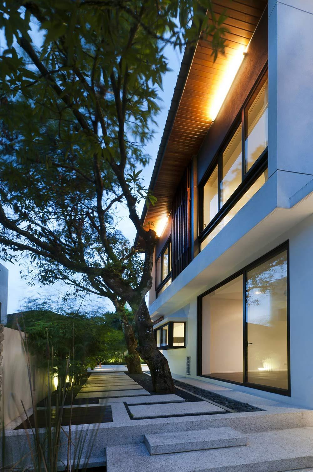 Patio Door, Stone Terrace, Modern Home in Kuala Lumpur
