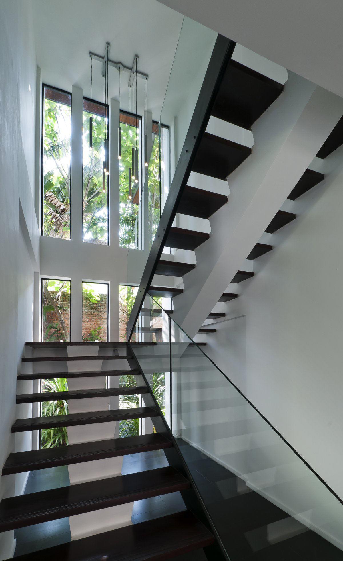 Modern Dark Wood & Glass Stairs, Modern Home in Kuala Lumpur